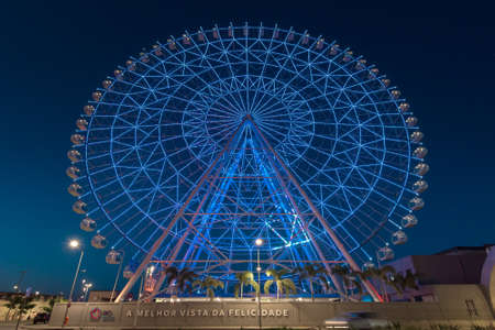 Rio de Janeiro, Brazil - January 18, 2021: Rio Star ferris wheel at night is illuminated with colorful RGB led lights. Редакционное