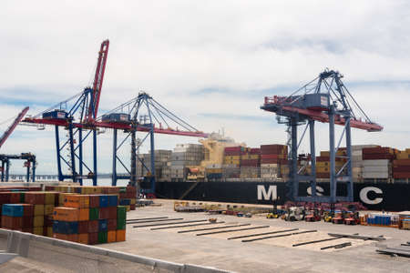 Rio de Janeiro, Brazil - January 24, 2021: Container ship MSC loading and unloading in sea port of the city. Редакционное