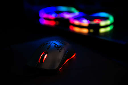 Gaming Mouse With RGB Led Lights in Background