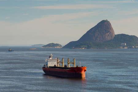 Tanker Ship in Guanabara Bay With Sugarloaf Mountain in the Horizon, in Rio de Janeiro, Brazil
