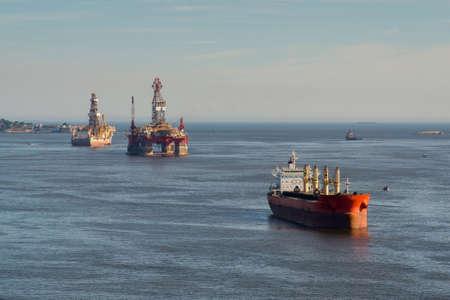 Tanker Ship in Guanabara Bay With Oil Platform in the Horizon, in Rio de Janeiro, Brazil