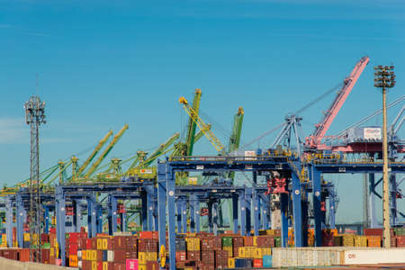 Rio de Janeiro, Brazil - January 27, 2021: Dock cranes at seaport of Rio de Janeiro city.