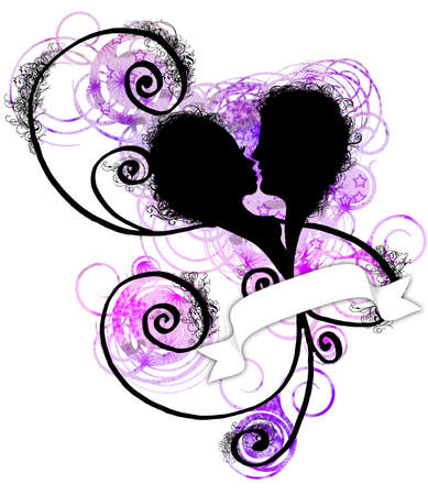 stylized heart with lovers woman and man profile , swirl and grunge texture photo