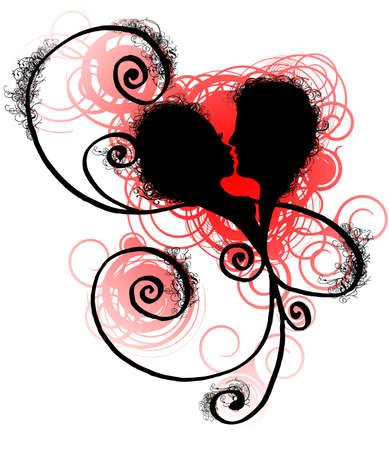 brige: el coraz�n estilizado con los amantes mujer y hombre perfila, remolino y textura del grunge Foto de archivo
