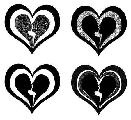 silhuette: four version of lovers profile heart Stock Photo
