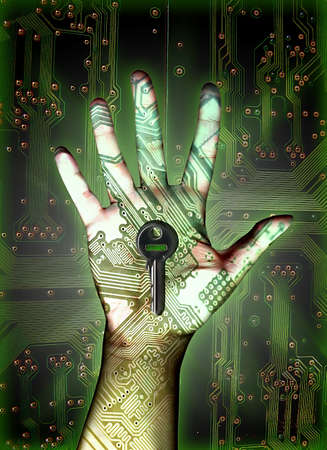 loging: secure loging with fingerprint technology Stock Photo