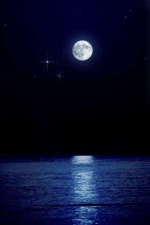 full moon over peaceful sea