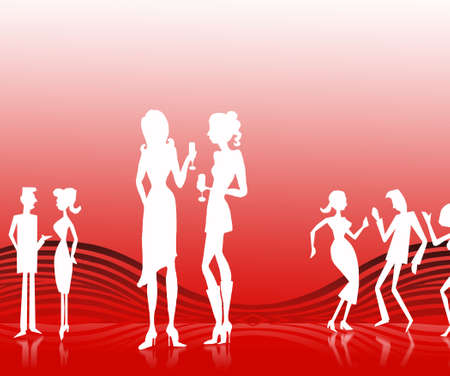 socialization: white silhouette on simple elegant background for every use