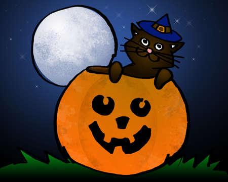 halloween 2008 series - cat in a jack o lantern photo