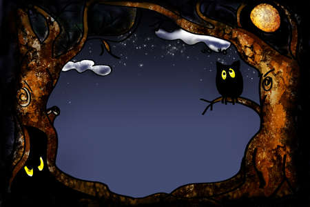halloween 2008 series -  tree frame with owl photo