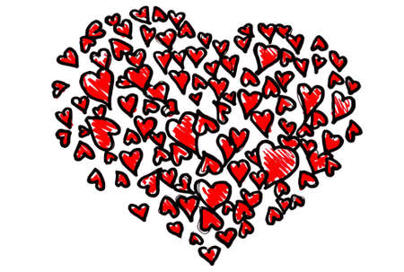 love story: valentine day tender heart made with hearts Stock Photo