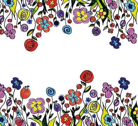 spring flower border Stock Photo - 4525087