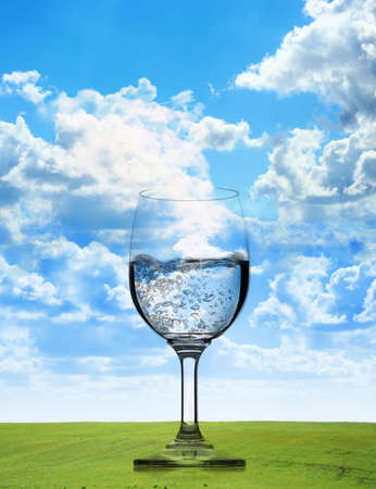 pure  natural water in a glass photo