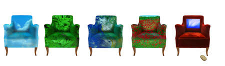 forniture: group of different textured armchairs