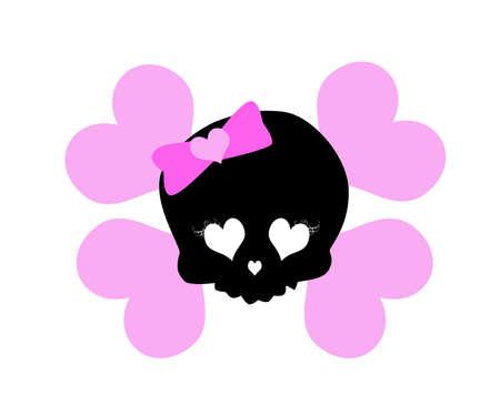 cute skull: cute  pink skull pirate motif Stock Photo