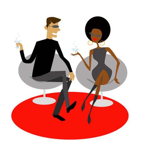 soiree: vintage couple drinking martini