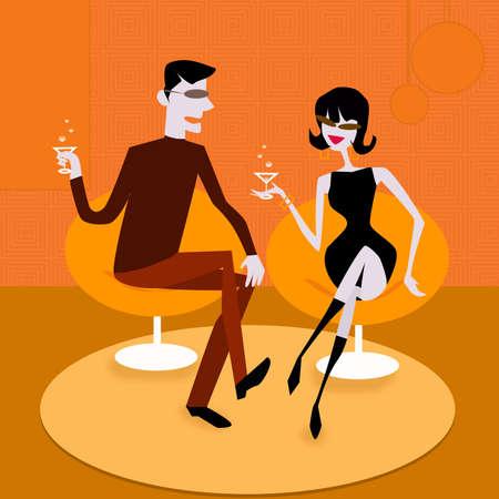 soiree: retro elegant couple is talking about.. Stock Photo