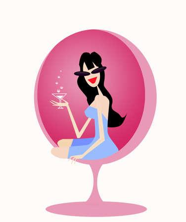happy hours: martini girl Stock Photo
