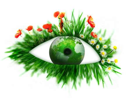 environmental concept: green eye