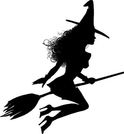 heks: Een sensuele heks silhouet vliegen