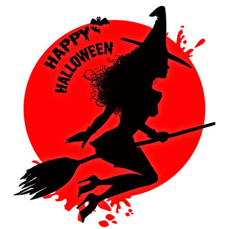 A sensual witch silhouette flying on an elegant iconing blood circle.. photo