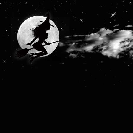 A sensual witch silhouette flying over a magic full moon photo