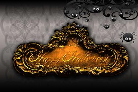 ecard: elegante carta di halloween felice fresco o ecard  Archivio Fotografico