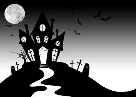 Horror haunted house background for halloween photo