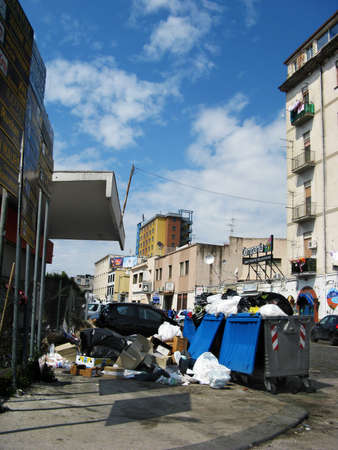 mucky: Rubbish in the street of Naples Stock Photo
