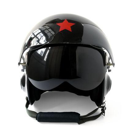 casco rojo: aviador negro casco aisladas sobre fondo blanco