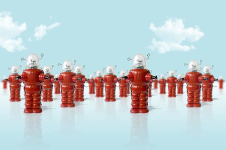 Old metal robots toys army Stock Photo - 5130623