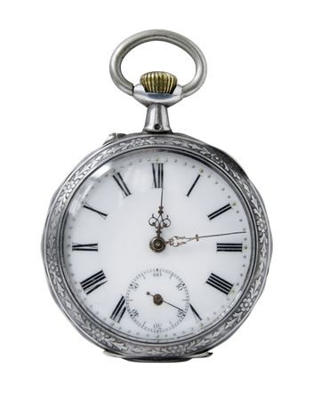 pocket watch: Old Pocket watch on a white background