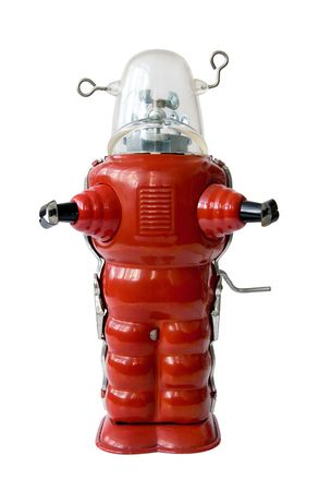 tin robot: Old red metal robot - Vintage toy