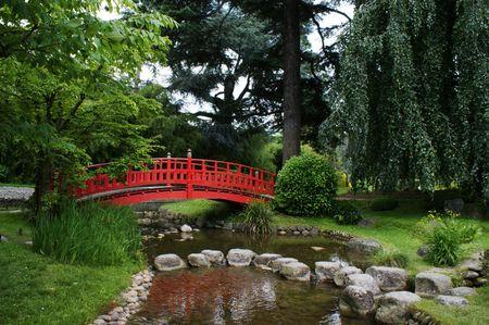Red bridge in a japanese garden photo