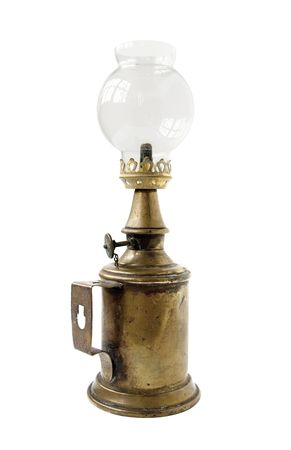 oil  lamp: old vintage glass oil lamp
