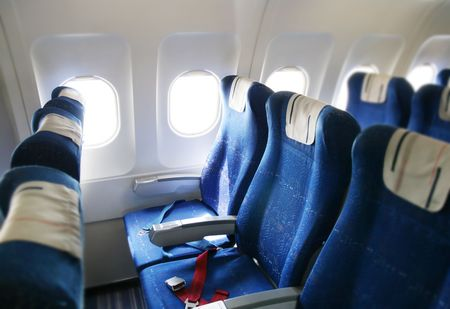 jetliner: seat rows in an airplane cabin