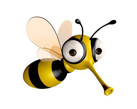 a bee: three dimensional funny bee Stock Photo