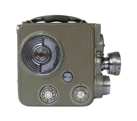 camara de cine: antigua c�mara de pel�cula de 8 mm en el fondo blanco Foto de archivo