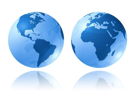 two blue glossy earth globes on white background - three dimensional illustration illustration