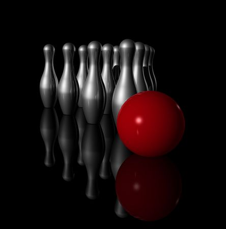 skittles: ten metal bowling skittles and red ball on black background - three dimensional illustration Stock Photo