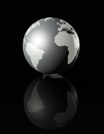 planisphere: in metallo lucido globo terrestre su sfondo nero - tre illustrazione tridimensionale