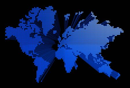 three dimensional spotted world map on black background photo