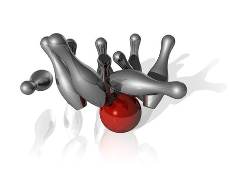 skittles: ten metal bowling skittles and red ball on white background - three dimensional illustration Stock Photo