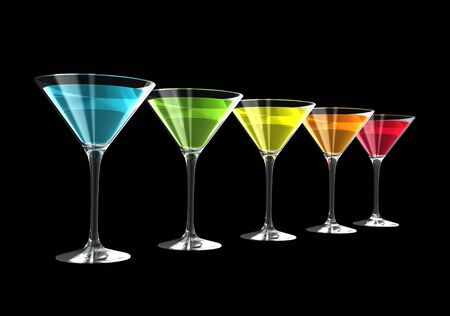 cocktail glasses isolated on a black background. three dimensional illustration illustration