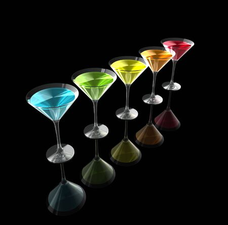rainbow cocktail: cocktail glasses isolated on a black background. three dimensional illustration