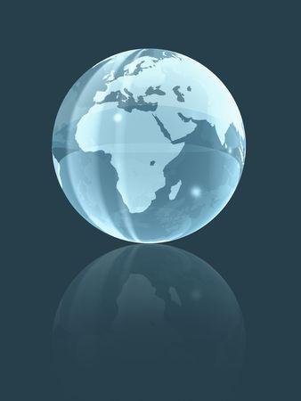 planisphere: isolated background glass earth globe. three dimensional illustration