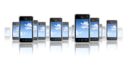 tactile: many three dimensional mobile phones on a white background