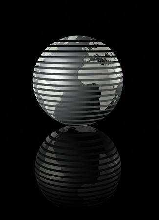 planisphere: metal glossy earth globe on black background - three dimensional illustration Stock Photo