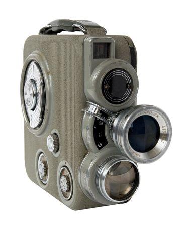 camara de cine: antigua C�mara de pel�cula de 8 mm sobre fondo blanco  Foto de archivo
