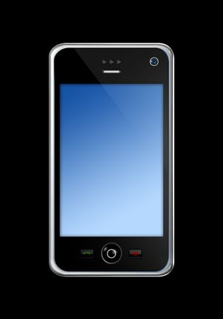 three dimensional mobile phone isolated on black  Stock Photo - 5651451